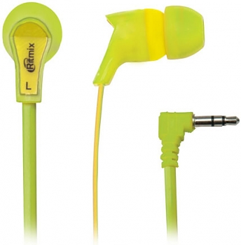 Наушники Ritmix rh-013 green+yellow вкладыши