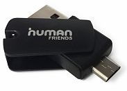 Кард-Ридер Human Friends OTG Hiker Black, USB+microUSB ОТК (T01194025)